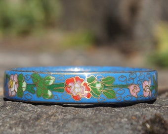 Blue Floral Chinese Cloisonne Bangle Bracelet