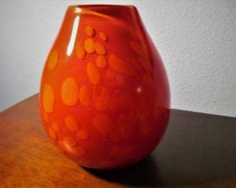 Vintage Murano Style Orange Glass Vase
