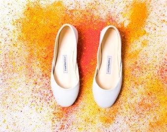 White Bridal Ballet Flats | Bridesmaids Flats | Flat Shoes for Brides | Classic White