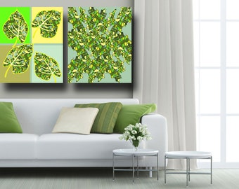 "Leaf Painting, Leaves Painting, Matching Set of Prints, Tree Painting, Canvas Ready to Hang, 20""x30"", 16""x20"", Large Abstract Poster, Green"