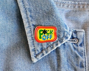 Enamel Pin F*ck Off Rainbow Lapel Pin 70s Groovy Hand Lettering Gifts under 10