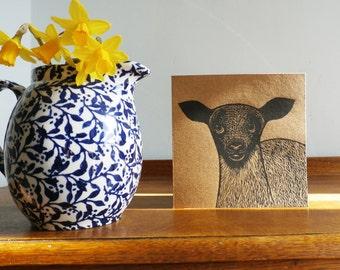 Lamb, Original Hand Printed Card, Linocut Card, Blank Greeting Card, Brown Kraft card,  Free Postage in UK,