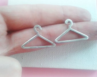 Hanger Ear Studs In Sterling Silver, Tailor's Earring Studs - Sterling Silver Hanger Studs - Tiny Cloth Hanger Silver  Earrings