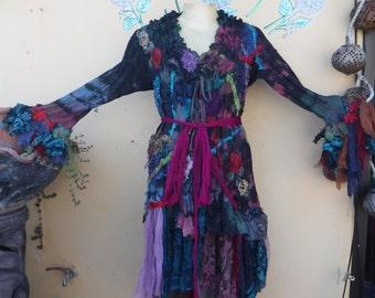 "20%OFF gothic steampunk bohemian jacket gypsy coat hippy velvet  ....work of art!!  medium to firmer 46"" bust...."