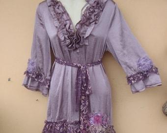 "20%OFF bohemian gypsy boho lagenlook satin dress...small to 36"" bust FREE SHIPPING"
