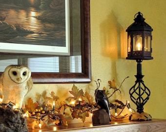 Rustic lighting, Vintage lighting, Home decor lighting, Table lamp, Accent lantern, Desk lamp, Office lighting, Festive accent lamp