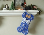 Dog Bone Stocking -  LARGE - PERSONALIZED - Snowflakes on Royal Blue