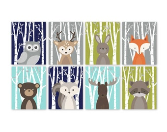 Woodland Critters, Print Set, Woodland Critters, Woodland Nursery Wall Art, Forest Animals, Forest Friends baby gifts for twins, boys, girls