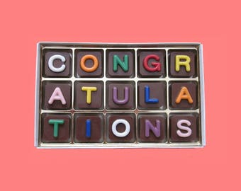 Congratulations Graduation Gift Box of Chocolate Message for Man Woman Congratulations Wedding Gift Unusual Fun Idea Jelly Bean Cube Letter