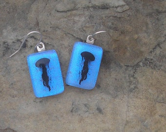Jellyfish Earrings Fused Dichroic Glass Jellyfish Jewelry
