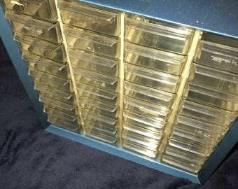 Vintage Metal Storage Box. Thirty Six Drawer Storage Container. Wall Hanging Storage Box.