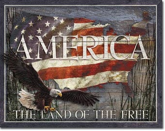 America the land of the free vintage style metal sign eagle flag freedom patriotic approx 12 1/2 inches X 16 inches
