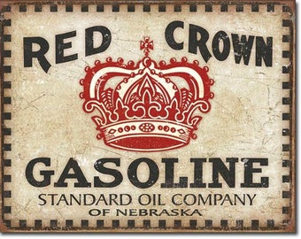 "Red Crown Gasoline vintage style retro metal sign man cave garage sign 12 1/2""X 16"