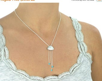 20% off. English Rain. Sterling silver and turquoise cloud necklace.  Turquoise rain necklace with tiny dangly turquoise rondelle