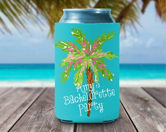 Personalized Can Coolies - Beach Please Palm Tree Can Coolers Bridesmaids & Bachelorette Party Favors  - Monogrammed Beer Can Coolers -
