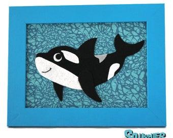 Felt Ocean Animal - Orca -  Kids Room Decor - 5 x 7 Framed Nursery Wall Art - Killer Whale