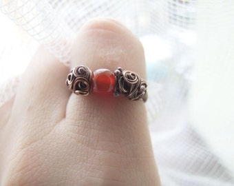 Carnelian Ring, Wire Wrapped Elvish Red Eye Ring, Gift for Her, Rustic Autumn Ring, Red Carnelian Ring