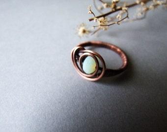 Romantic White Glass Crystal Ring, Delicate Rustic Copper Ring, White Blossom Ring, Elvish Romantic Copper Jewelry
