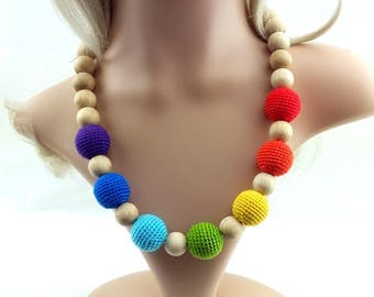 Nursing necklace,Rainbow crochet wooden teething necklace