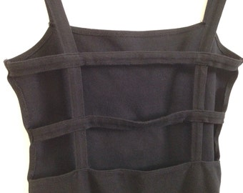 Womens vintage 80's cage cut out black cotton spandex body con dress size small- medium