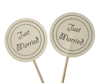 10 Just Married Cupcake Toppers, Wedding Decorations - No1107