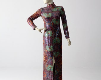 1960s sequin maxi dress by Malcolm Starr, vintage long purple dress