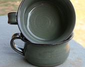 Pottery Soup Mug Pair Green Glaze NC Pottery