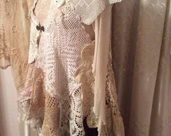 Handmade Doily Vest, crochet doily dress cover, lagenlook easy wear, romantic shabby victorian chic, lagenlook layered, MEDIUM LARGE