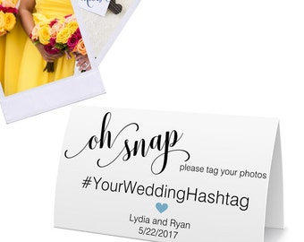 Wedding Hashtag Cards, Social Media Shout Out Cards, Party Decorations, Bridal Shower - 2 x 3.5 inches, Set of 10 Tent Cards, BELA