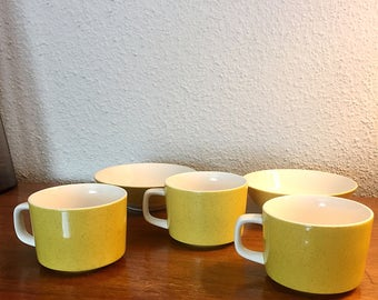 Speckled Yellow Mikasa Mediterranea Vintage cups and bowls