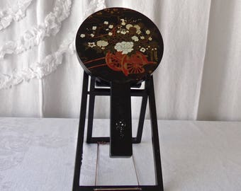 Vintage  Geisha Vanity Mirrors Lacquered Hand Painted Mirrors Set on Lacquered Stand Japanese Vanity Boudoir 1970s