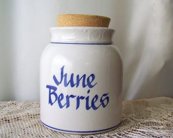 Vintage Crock June Berries Kitchen Decor Blue and White Vessel Country Crock Cookie Jar Rustic Kitchen Shabby Cottage ca. 1994
