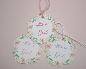 Set of 10 Baby Shower Tags - Baby Girl Tags - It's a Girl Tags - Wreath Tags - Baby Tags - Favor Tags - Gift Tags