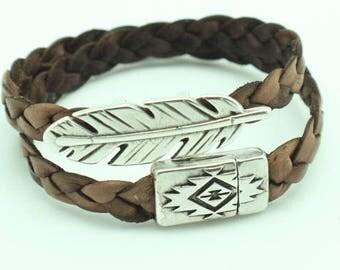 Feather & Light Brown Leather Wrap Bracelet