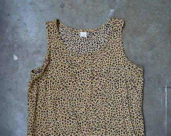 Vtg 90's LEopard Print Lightweight Rayon Tank Top Blouse Small Medium Cheetah