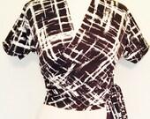 Vintage 1950s inspired navy white geometric print jersey wrap top L rockabilly Viva