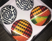 Kente and Tribal Button Earrings Giftset