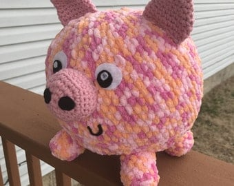 Crochet Pig Plush / Handmade Pig Plush / Amigurumi Pig Toy / Large Pig Stuffed Animal / Pink Piglet / Ready to Ship