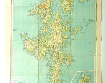 Shetland vintage map, Zetland map, Scotland, Bartholomew's map, Map poster, Large map of Shetland