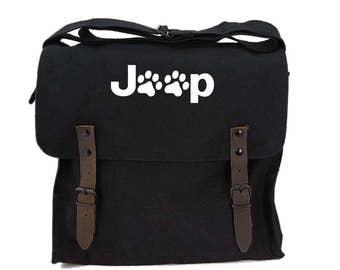 Jeep Paws Vintage Medic Army Bag Canvas Shoulder Bag