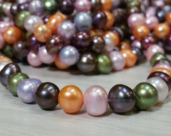 8 to 9 mm Freshwater Pearl Potato Beads Mix Multi Colors 15 Inch - Spring Colors Project (G3443NW3950)