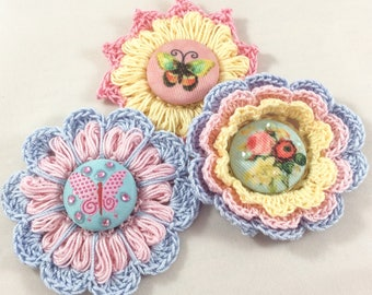 Pastel Crochet Flowers - 3 Flowers with Fabric Brad Centers - Beautiful Spring/Summer Shades