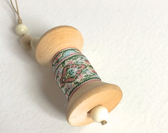 Sewist Ornament - Vintage Pink Green Blue Ribbon on Large Wooden Spool