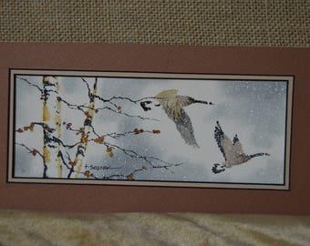 September Geese flying (unframed) 4x8