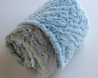 Light Blue & Gray Minky Baby Blanket