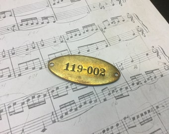Vintage Brass Locker Tag - Altered Art, Mixed Media, Jewelry