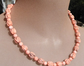 Unusual, One-of-a-Kind Pastel Peach Bead Necklace