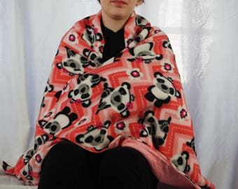 Panda bears fleece blanket, throw blanket, lap blanket
