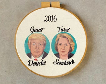 Hillary Clinton & Donald Trump 2016 Wall Hanging