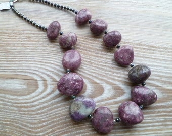 SALE 50% off Lepidolite chunky Necklace with Sterling Silver 925 clasp UK made 20""